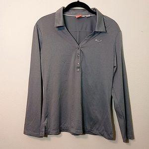 Puma | Gray Long Sleeve Polo